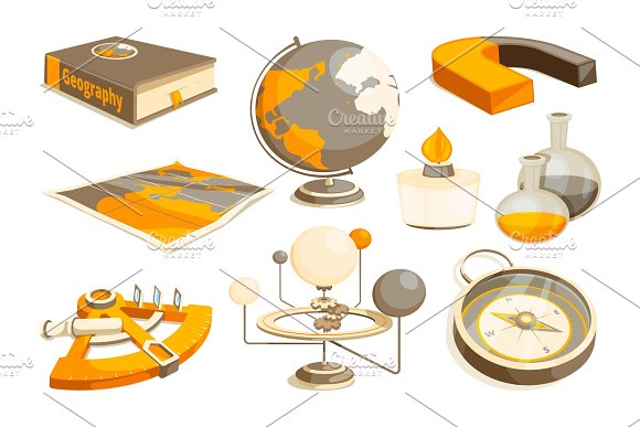 Symbols Of Science And Geography Tools For Laboratory Vector Monochrome Pictures Set