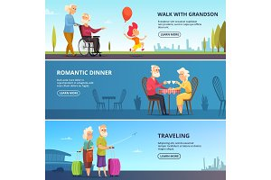Horizontal banners set with illustrations of elderly couples in various situations