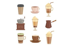 Various sorts of coffee. Cups in cartoon style