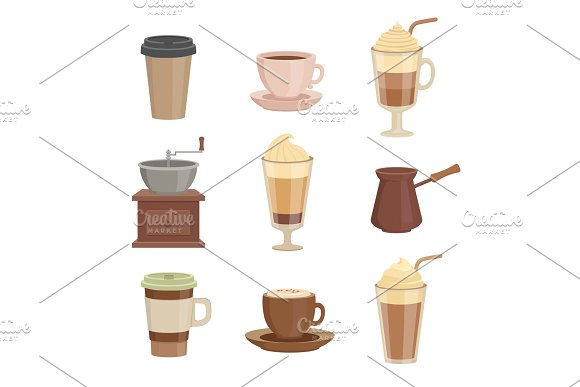 Various Sorts Of Coffee Cups In Cartoon Style