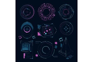 Circle futuristic shapes for digital web interface. Hud sci fi symbols