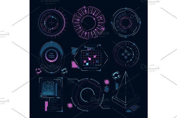 Circle Futuristic Shapes For Digital Web Interface Hud Sci Fi Symbols