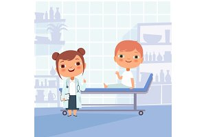 Patient at doctor appointment. Vector funny characters