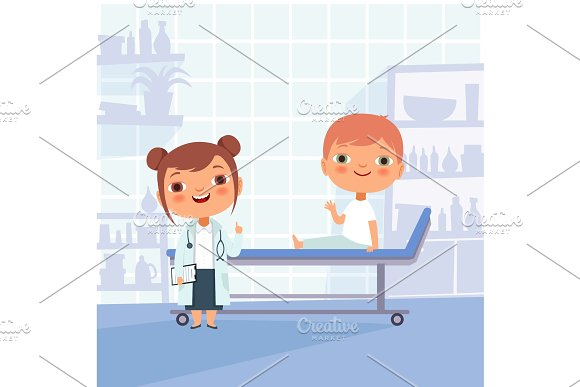 Patient At Doctor Appointment Vector Funny Characters