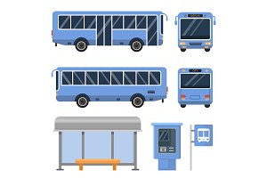 Illustration of bus stop. And various views of buses