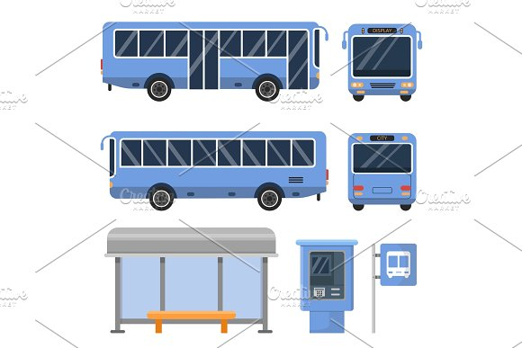 Illustration Of Bus Stop And Various Views Of Buses