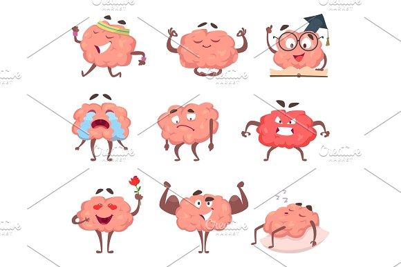 Brain Cartoon Mascot In Various Poses