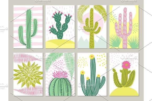 Cards Template With Pictures Of Cactuses