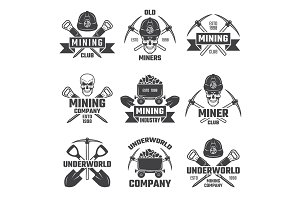 Mineral and gold mining. Vector emblems