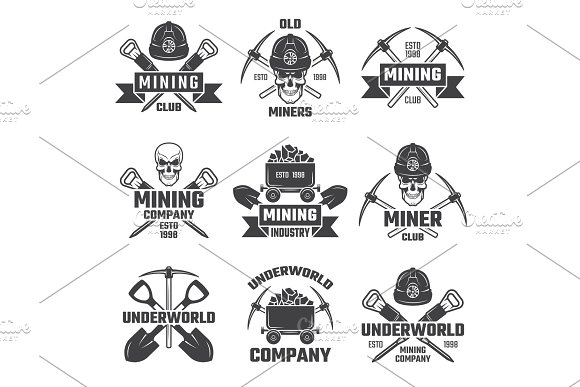 Mineral And Gold Mining Vector Emblems