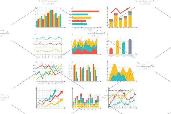 Financial Business Graphics And Diagram Set In Vector Style Infographic Illustrations