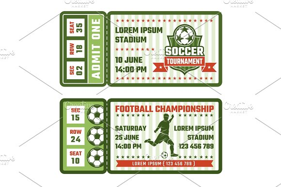 Design Template Of Tickets For Football Match