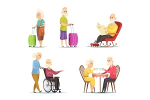 Vector characters set of elderly peoples. Funny characters isolate on white background