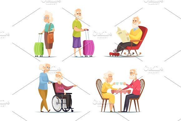 Vector Characters Set Of Elderly Peoples Funny Characters Isolate On White Background