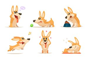 Cute cartoon funny puppy. Vector animal. Dog in various action poses