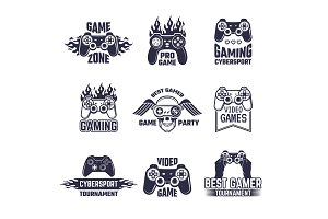 Cyber sport badges and labels. Pictures for gamers. Console and joystick