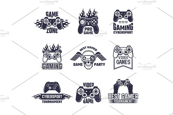Cyber Sport Badges And Labels Pictures For Gamers Console And Joystick