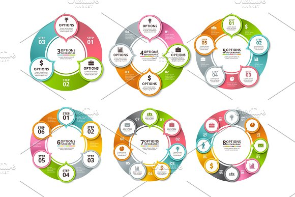 Various Radial Shapes And Circles For Business Infographic