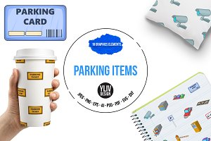 Parking items icons set, cartoon sty