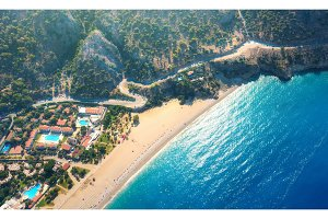 Aerial view of sandy beach in Oludeniz, Turkey. Summer landscape