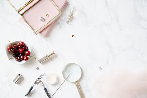 Flatlay with feminine accessories