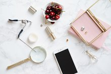 Flatlay mock up with mobile phone screen and feminine accessories by  in Beauty & Fashion