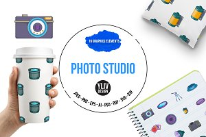 Photo studio icons set, cartoon styl