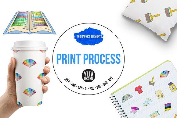 Print Process Icons Set Cartoon Sty