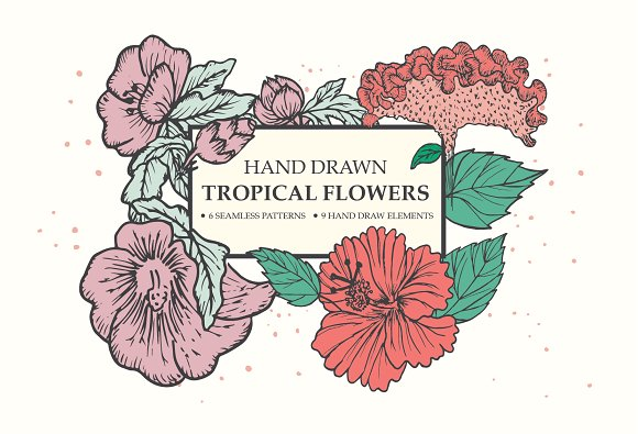 Hand Drawn Tropical Flowers