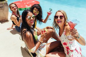 Girls enjoying a poolside party