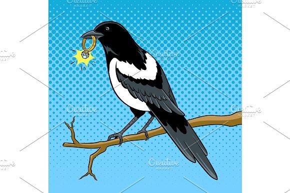Magpie Bird With Golden Ring Pop Art Vector