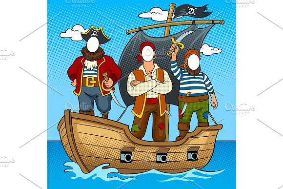 Tantamaresque Pirates On Boat Pop Art Vector