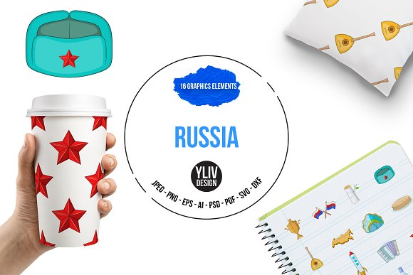Russia Icons Set Cartoon Style