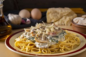 Delicious creamy pasta served on tab