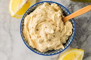 Mashed chickpeas Hummus dip in bowl