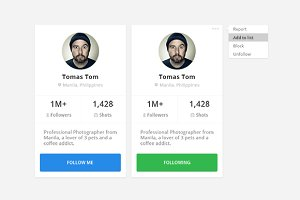 Social Profile and Follow Interface