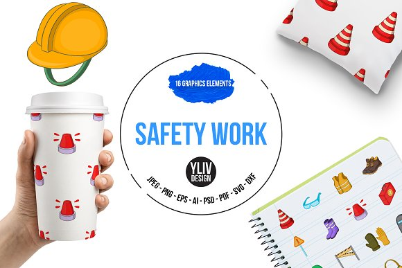 Safety Work Icons Set Cartoon Style