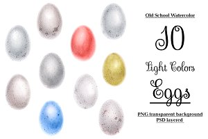 Watercolor bird eggs