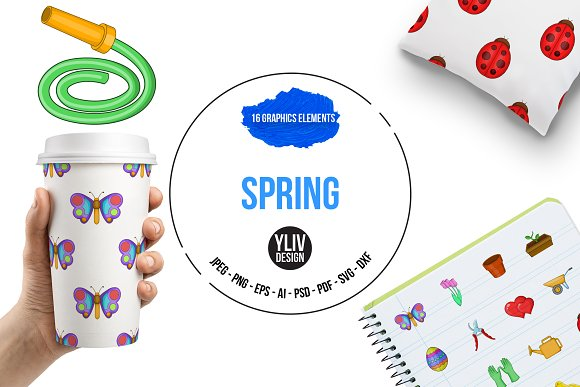 Spring Icons Set Cartoon Style