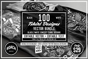 100 Vector Tshirt Designs ( B/W )