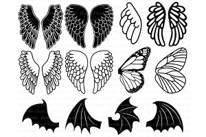 Angel Wings SVG, Bat Wings SVG.