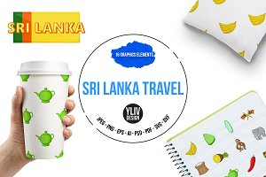 Sri Lanka travel icons set, cartoon