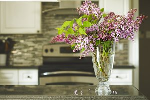 Bouquet of lilac on kitchen table