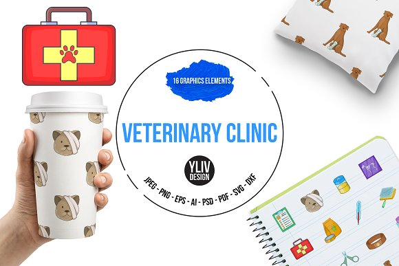 Veterinary Clinic Icons Set Cartoon