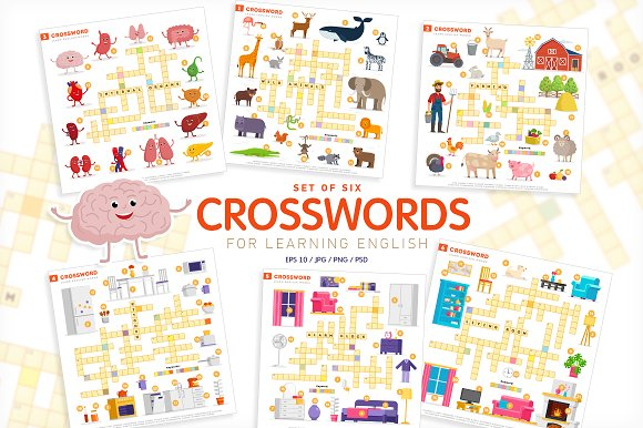 6 Crosswords Learn English Words