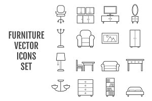16 vector line furniture icons