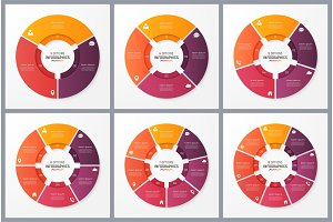 Circle chart templates with 3 4 5 6 7 8 options. Vector design f