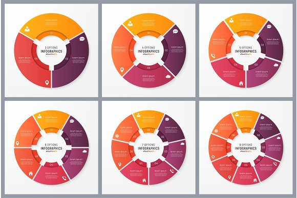 Circle Chart Templates With 3 4 5 6 7 8 Options Vector Design F