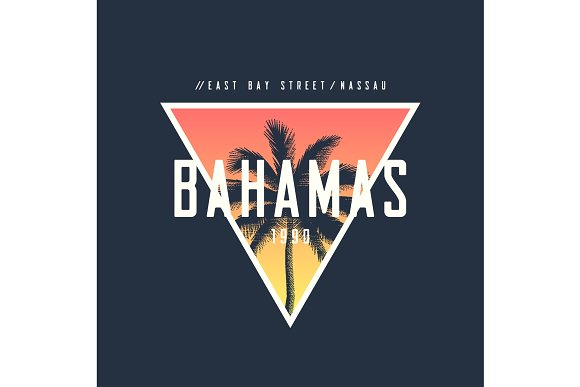 Bahamas Nassau T-shirt And Apparel Design With Rough Palm Tree