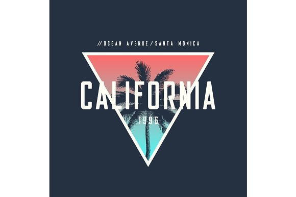 California Ocean Avenue T-shirt And Apparel Design With Rough Pa